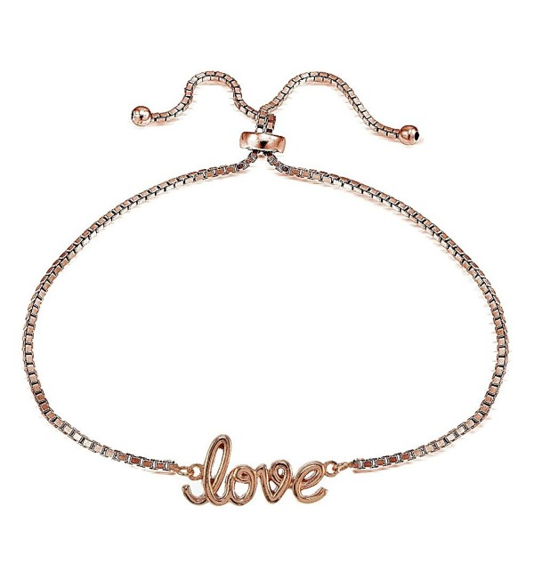 Sterling Silver LOVE Polished Adjustable Bracelet - C812N7DV8XL