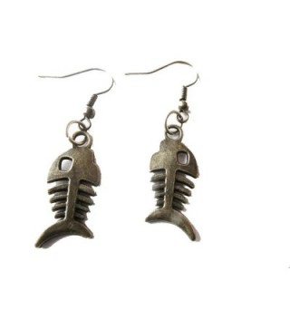 Ancient Bronze Fish Earrings-fish Skeleton Earrings-oxidized Bronze Fish Bone Earrings- Fish Bone Jewelry - CU128OSSW5B