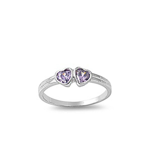 CHOOSE YOUR COLOR Sterling Silver Double Love Heart Ring - Simulated Amethyst - CP187YSIIT3