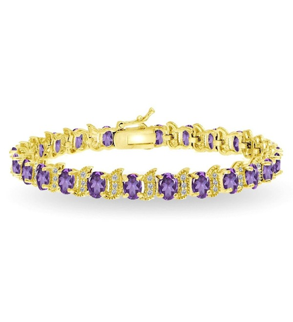 Sterling Silver Genuine- Created or Simulated Gemstone Oval and S Tennis Bracelet - Amethyst - Gold Flash - CQ187MIRAX4