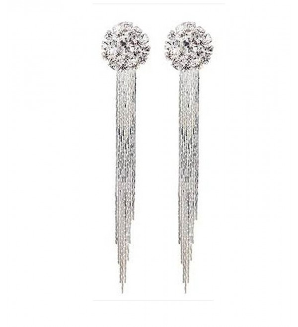 Generic Fashion Elegant Women Bridal Silver Non-Pierced Clip on Tassel Dangle Earrings - CR12GQBS2ET