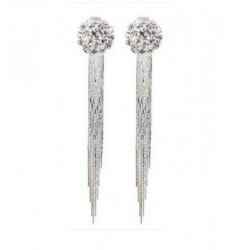 Generic Fashion Elegant Women Bridal Silver Non-Pierced Clip on Tassel Dangle Earrings - CR12GQBS2ET