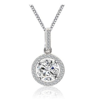 Sterling Pendant Necklace Zirconia SN010 - A4 Diamond Necklace - CB12O87DHJ0