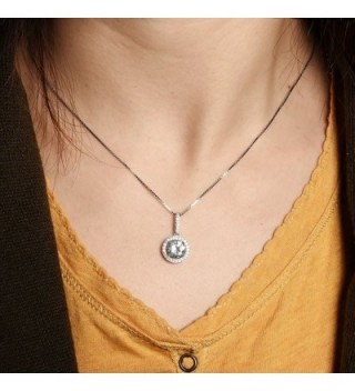 Sterling Pendant Necklace Zirconia SN010 in Women's Pendants
