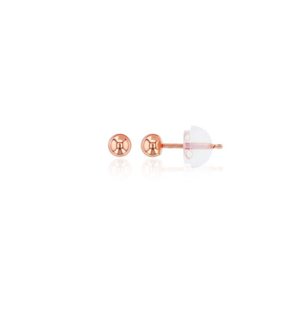 14K Gold 3mm Ball Stud Earring - Rose - C9185C9TYG9