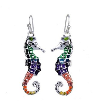 DianaL Boutique Colorful Enameled Silvertone Seahorse Earrings Gift Boxed Sea Horse Fashion Jewelry - CW12C9N7WN5