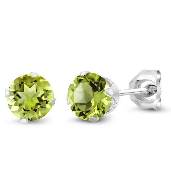 1.00 Ct Round Green Peridot Gemstone Birthstone 925 Sterling Silver 5MM Women's Stud Earrings - C6115TRD2IX