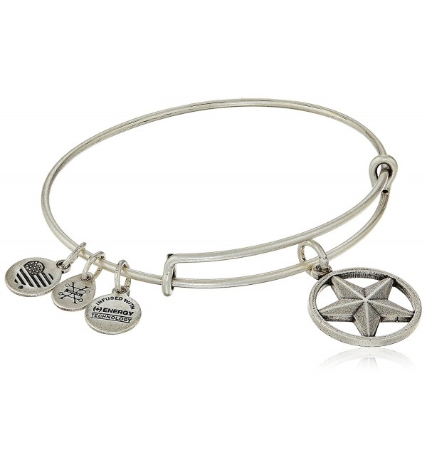 "Alex and Ani ""Armed Forces"" Star of Strength Expandable Wire Bangle Charm Bracelet - Rafaelian Silver - C412IDNMJMT"