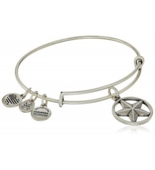 """Alex and Ani """"Armed Forces"""" Star of Strength Expandable Wire Bangle Charm Bracelet - Rafaelian Silver - C412IDNMJMT"""