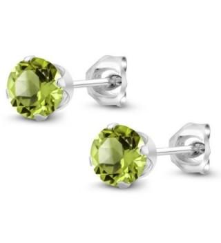 Peridot Gemstone Birthstone Sterling Earrings in Women's Stud Earrings