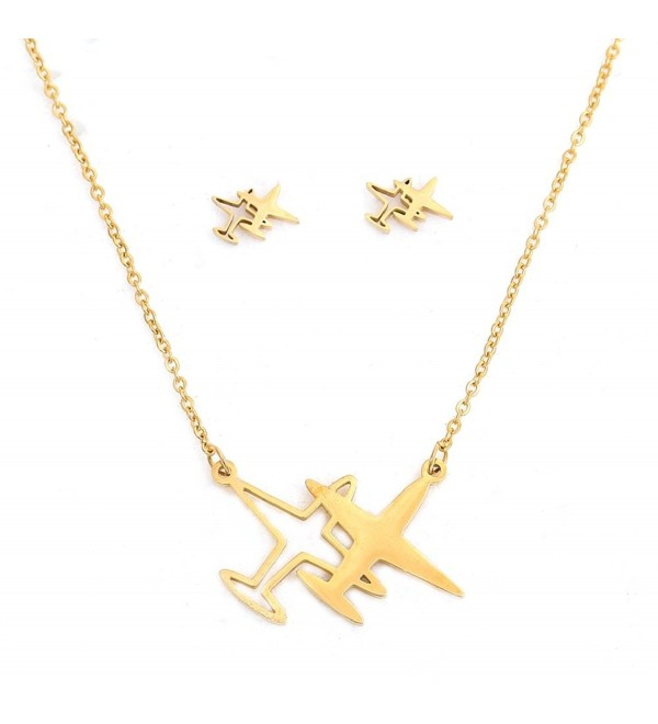 Airplane Pendant Necklace Earrings Stainless - CR187UDWN0N