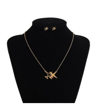 Airplane Pendant Necklace Earrings Stainless in Women's Pendants