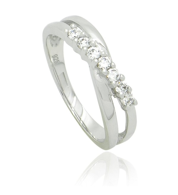 Sterling Silver CZ Crossover Ring Band - CW11KBL8OHV