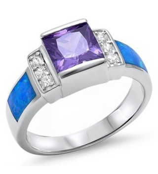 Simulated Amethyst- Lab Created Blue Opal- & Cz .925 Sterling Silver Ring Sizes 5-10 - C811MBK5ZQX