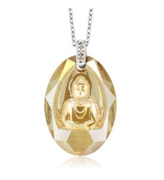 Sterling Silver Golden Shadow Buddha Pendant Necklace with Diamonds Made With Swarovski Elements - CU11YW40IOF