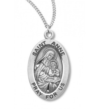 Heartland Women's Sterling Silver Oval Saint Anne Pendant + Best Quality USA Made + Chain Choice - C4119PYK1MB