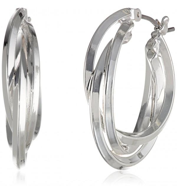 "Anne Klein ""Classics"" Silver-Tone Triple Ring Hoop Earrings - CV11D7QGWIP"