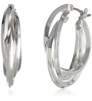 """Anne Klein """"Classics"""" Silver-Tone Triple Ring Hoop Earrings - CV11D7QGWIP"""