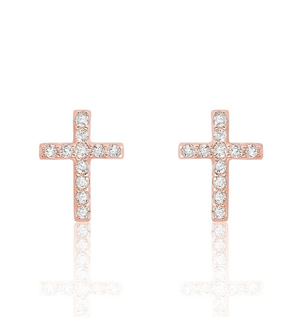 Rose Gold Plated 925 Sterling Silver Beautiful CZ Cross Earrings - C112B8OLAU1