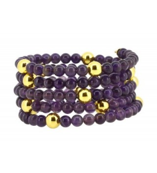 5 Row Memory Spiral Wire Brass Feather Charm Simulated Amethyst Beads Wrap Around Bracelet - CU1260B57YX