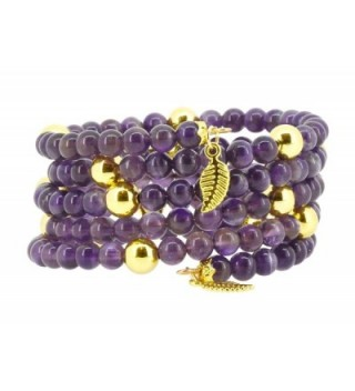 Memory Feather Simulated Amethyst Bracelet