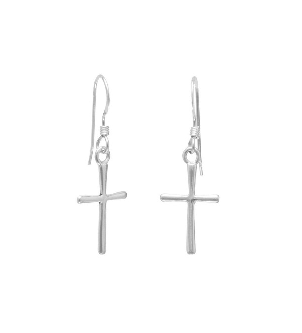 925 Sterling Silver Thin Cross French Wire Earrings - CB112ZLFRJN