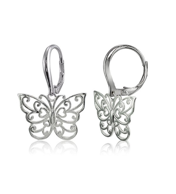 Sterling Silver High Polished Filigree Butterfly Leverback Earrings - CL182EASKEZ