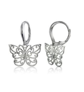 Sterling Silver High Polished Filigree Butterfly Leverback Earrings - CL182EASKEZ