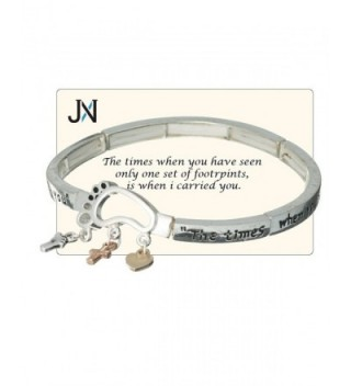 Foot Print Charm Stretch When Seen I Carried You Bracelet Inspirational Card by Jewelry Nexus - CS11DX8K585