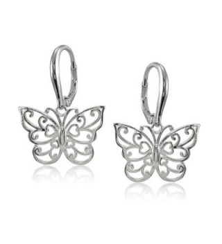 Sterling Polished Filigree Butterfly Leverback