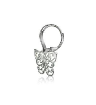 Sterling Polished Filigree Butterfly Leverback in Women's Drop & Dangle Earrings