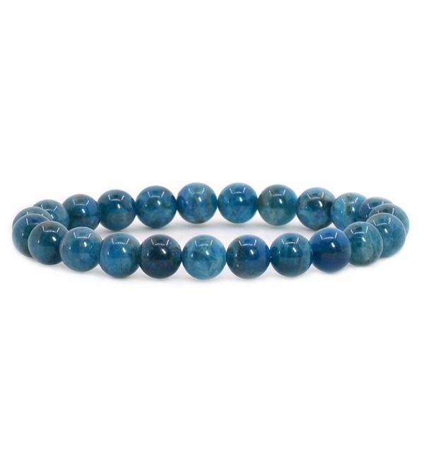 "Justinstones Gem Semi Precious Gemstone 8mm Round Beads Stretch Bracelet 7"" Unisex - Apatite - CI12O3VHT55"