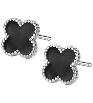 Sterling Silver Plated Black Onyx Agate Beads Sided Four Clover Flower Womens Stud Earrings - CT182LTIM8G