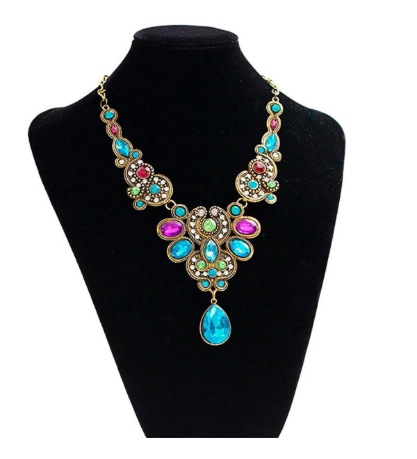 Ammazona Pendant Chain Women Statement Crystal Bib Beaded Collar Necklace Choker - CM12HD5Q8SJ