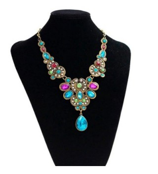Ammazona Pendant Chain Women Statement Crystal Bib Beaded Collar Necklace Choker - CM12HD5Q8SJ