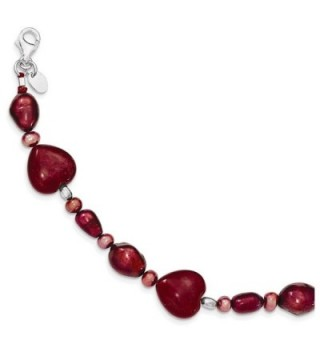 "Sterling Silver Red Jade Hearts/FW Cultured Pearl Bracelet Length 7.5"" - CB115QBNHEB"