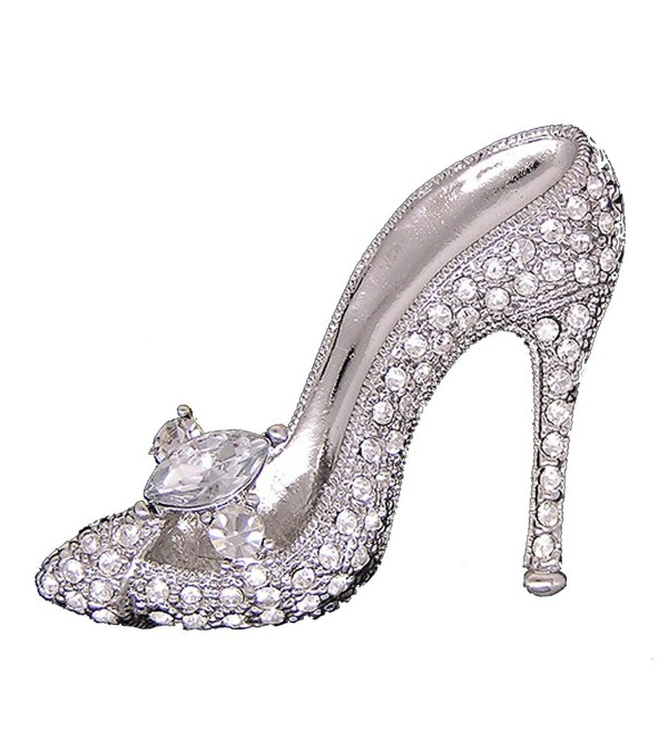 Neevas High-heeled shoe Brooch Pin W Crystals Diamante Rhinestone Wedding Breastpin - Silver - CO12N17LHXR