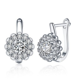 Plated Flower Zirconia Earrings DreamSter - 18K White Gold Plated - CA18982XAIK