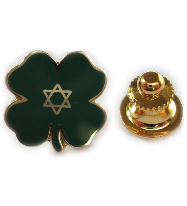 Lucky Jewish Four Leaf Clover Irish Isreal Star of David Lapel Pin - CW113IM2H0Z