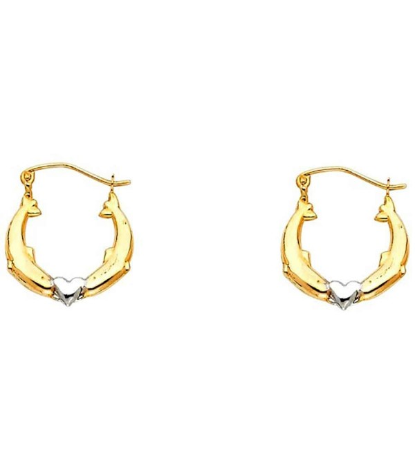 Women's 14K Two Tone Dolphin Hollow Hoop Earrings (0.66 in x 0.66 in) - CG12IIYKIQ7