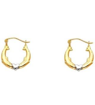 Women's 14K Two Tone Dolphin Hollow Hoop Earrings (0.66 in x 0.66 in) - CG12IIYKIQ7