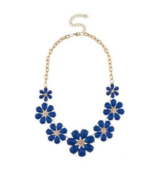 Lux Accessories Womens Tribal Floral Bib Statement Necklace - Royal Blue - C811PIXBVLN
