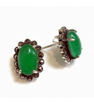 .925 Sterling Silver New Jade with Marcasite Stud Earrings - C911NZ728T3