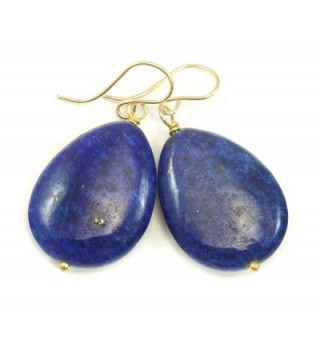 14k Gold Filled Lapis Lazuli Earrings Large Blue Smooth Fat Teardrop Briolettes - CK11N1FE293