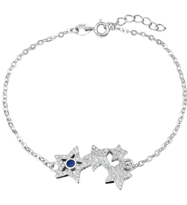 "EleQueen 925 Sterling Silver CZ 4 Shining Star Bracelet Chain- 7""+0.8"" Extender - C712C29I0S7"