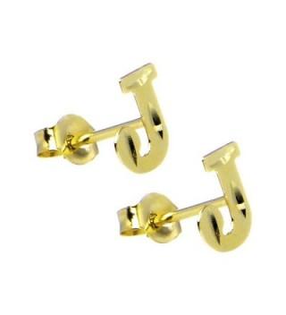 14k Yellow Gold Initial J Stud Earrings - CZ114UN44ZR