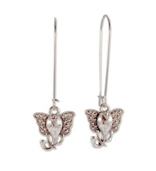 Sabai Silvertone Art Deco Elephant Charm Dangle Earrings on Stainless Steel Earwires - CQ120EGEZBL