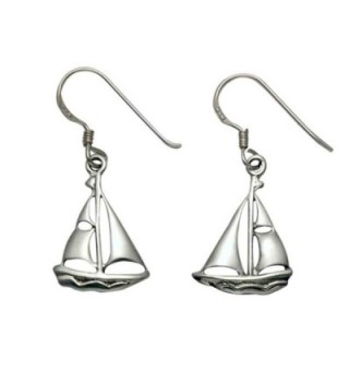 Sterling Silver Sailboat French Wire Earrings - CU110U4BY3Z