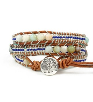Bonnie Wrap Leather Bracelet 6mm Prayer Bead Charm Meditation Tree of Life Knot Cord Bracelet - CC17YX5GONC