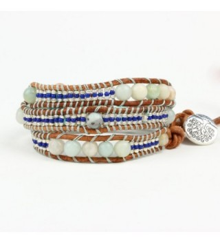 Bonnie Leather Bracelet Meditation Amazonite in Women's Strand Bracelets